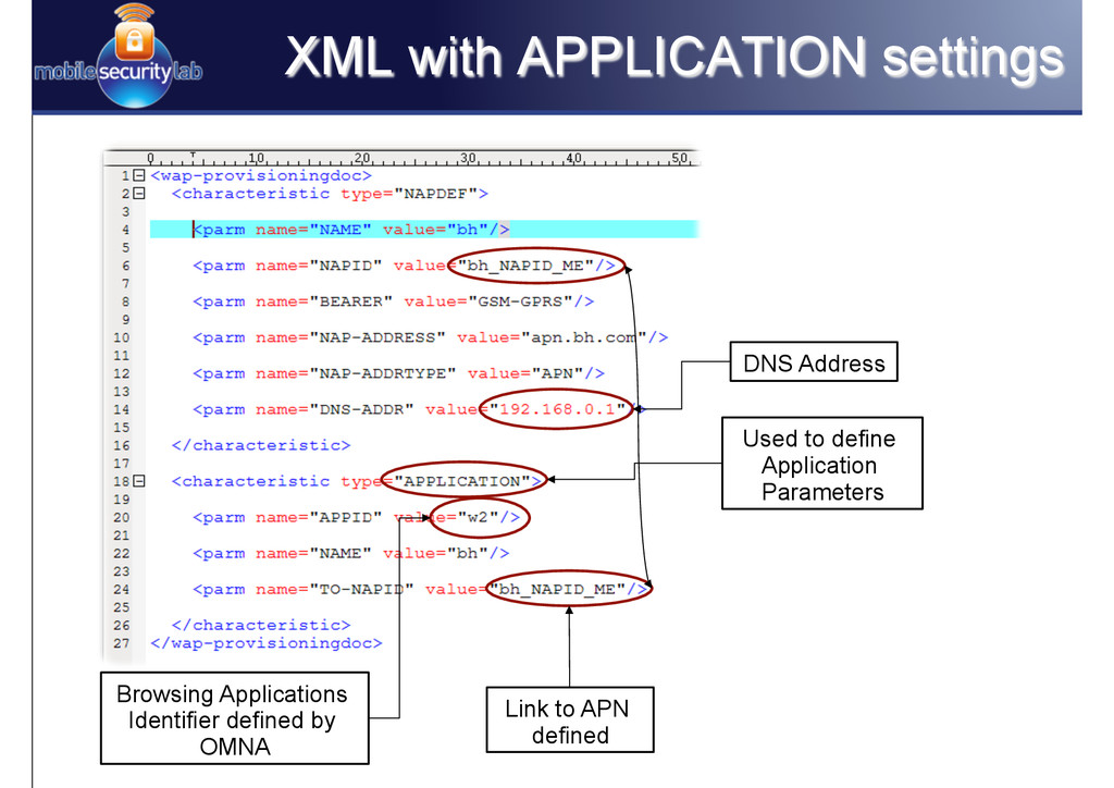 XML with APPLICATION settings Used to define Ap...