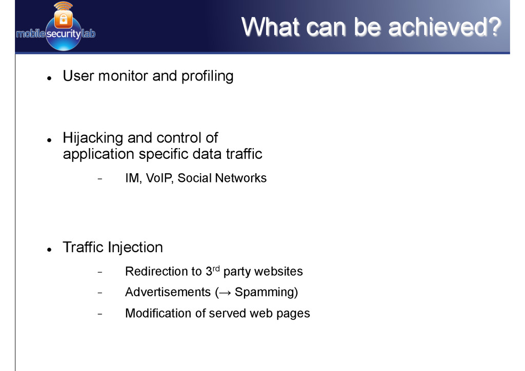 What can be achieved? l User monitor and prof...