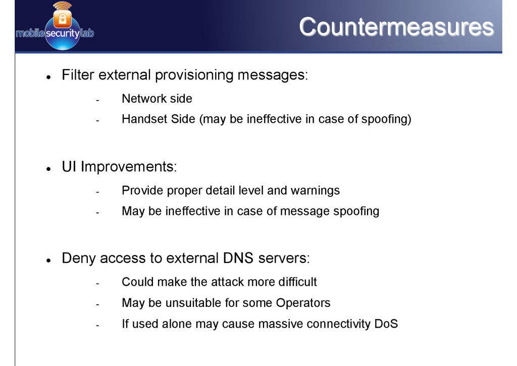 Countermeasures l Filter external provisionin...