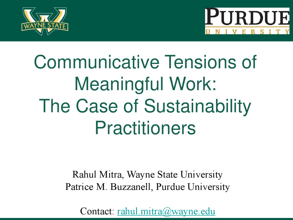 Communicative Tensions of Meaningful Work: The ...