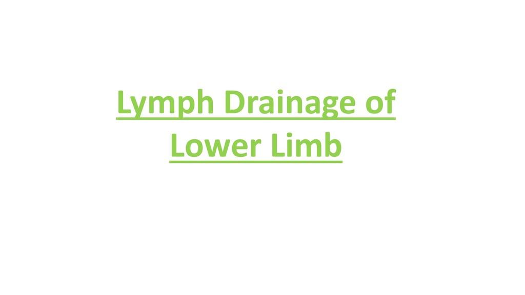 Lymph Drainage of Lower Limb