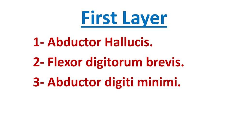 First Layer 1- Abductor Hallucis. 2- Flexor dig...