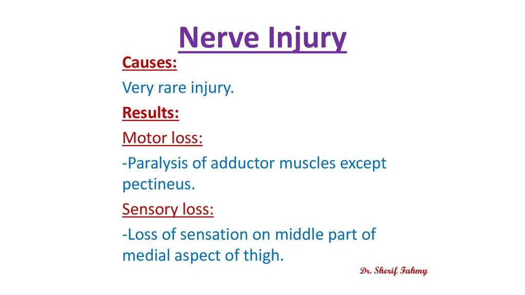 Nerve Injury Causes: Very rare injury. Results:...