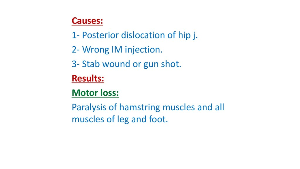 Causes: 1- Posterior dislocation of hip j. 2- W...