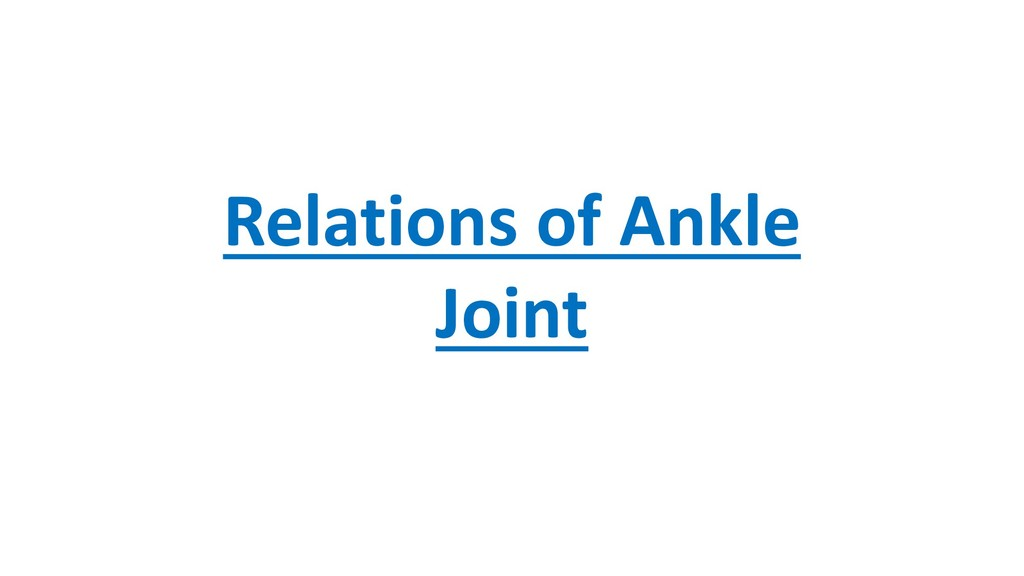 Relations of Ankle Joint