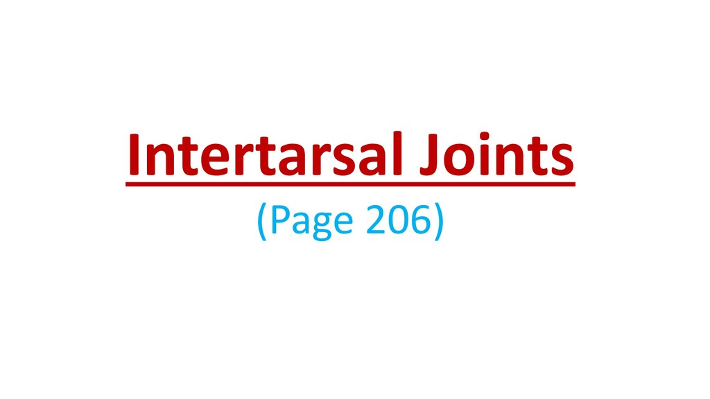 Intertarsal Joints (Page 206)
