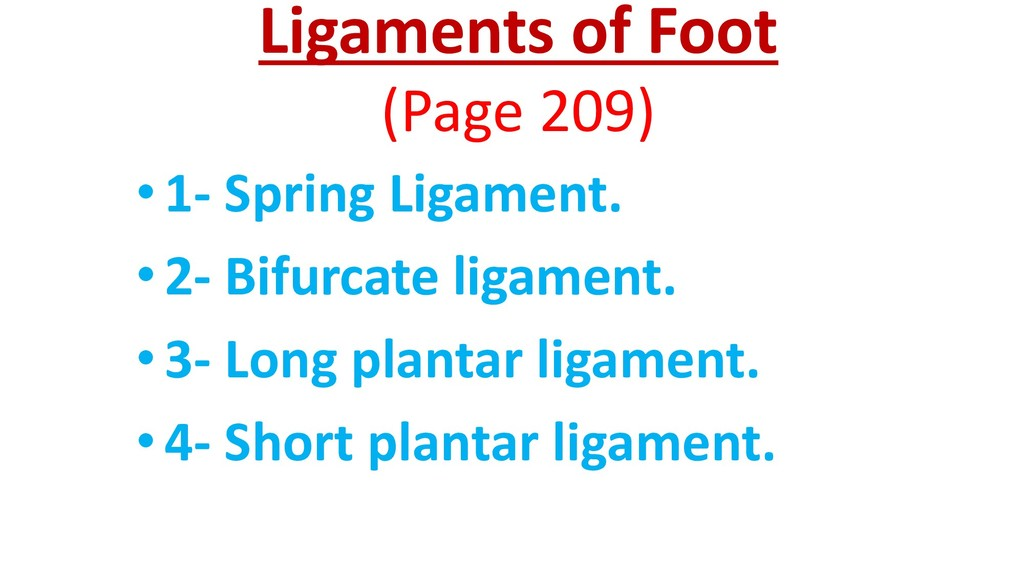 Ligaments of Foot (Page 209) •1- Spring Ligamen...