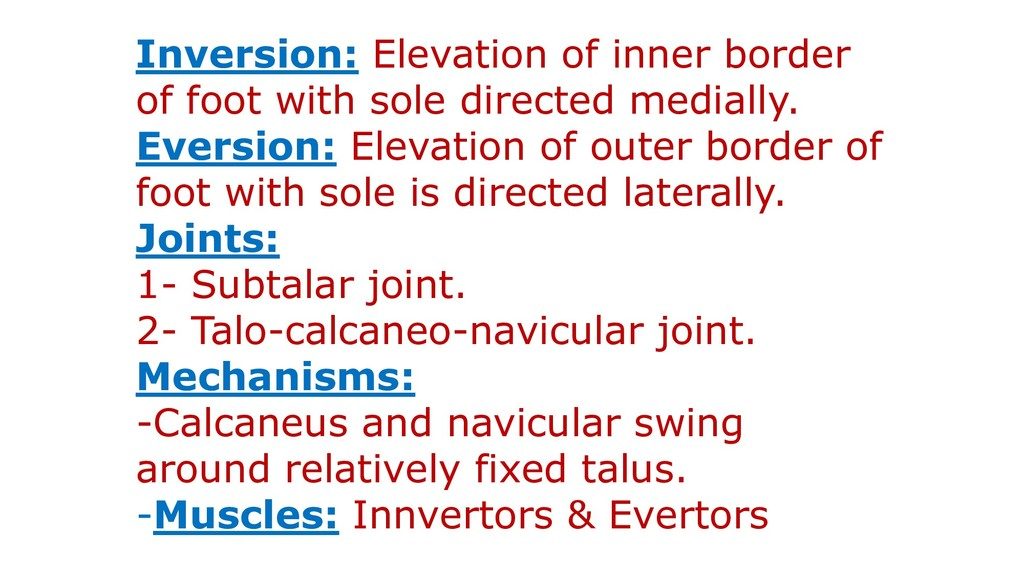 Inversion: Elevation of inner border of foot wi...