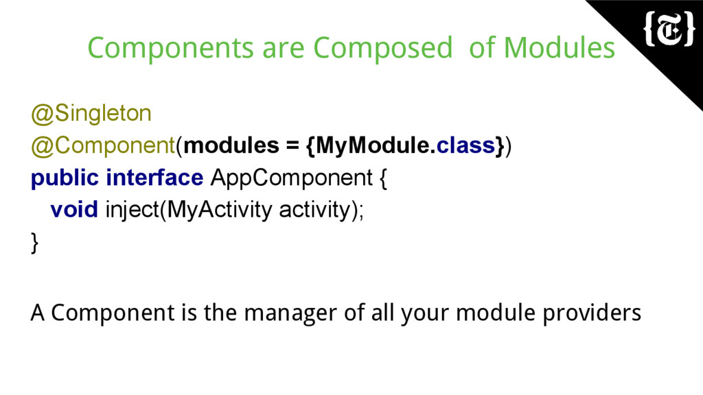 Components are Composed of Modules @Singleton @...