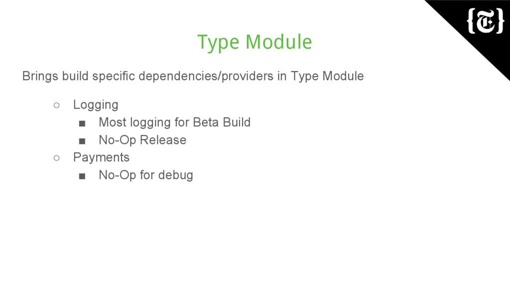 Type Module Brings build specific dependencies/...
