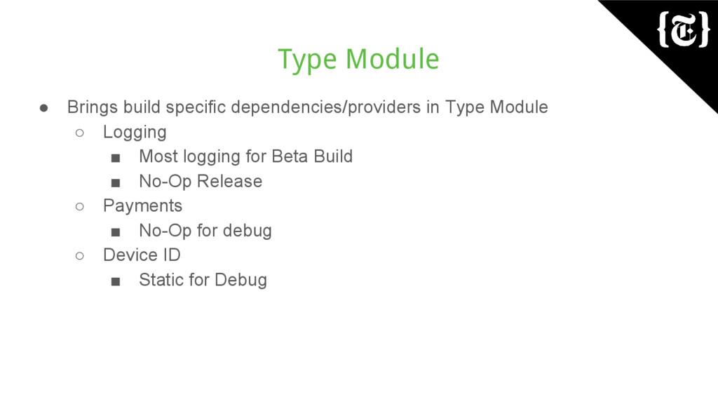 Type Module ● Brings build specific dependencie...