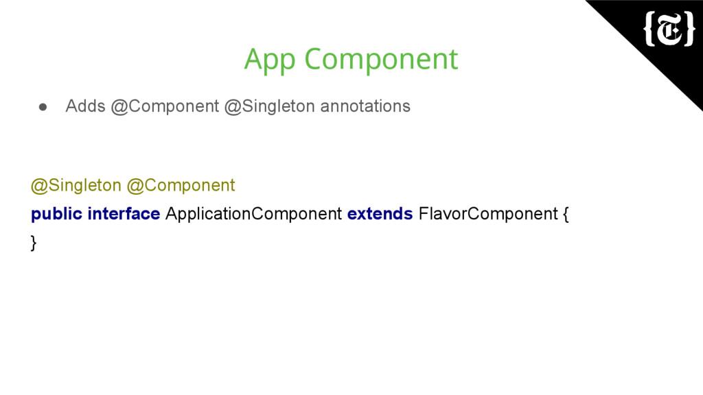 App Component ● Adds @Component @Singleton anno...