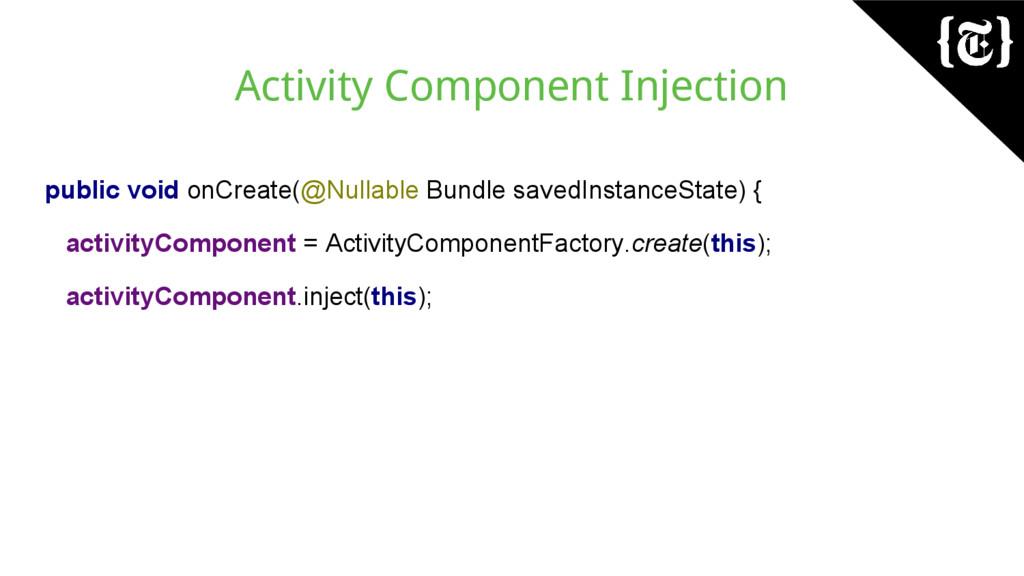 Activity Component Injection public void onCrea...