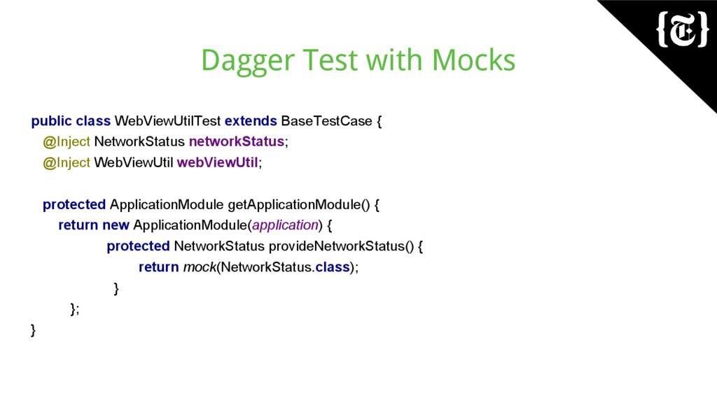 Dagger Test with Mocks public class WebViewUtil...