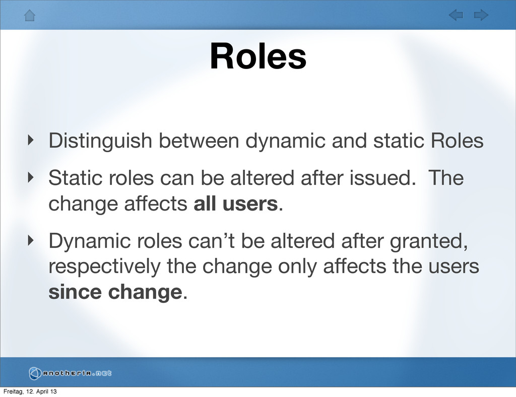Roles ‣ Distinguish between dynamic and static ...