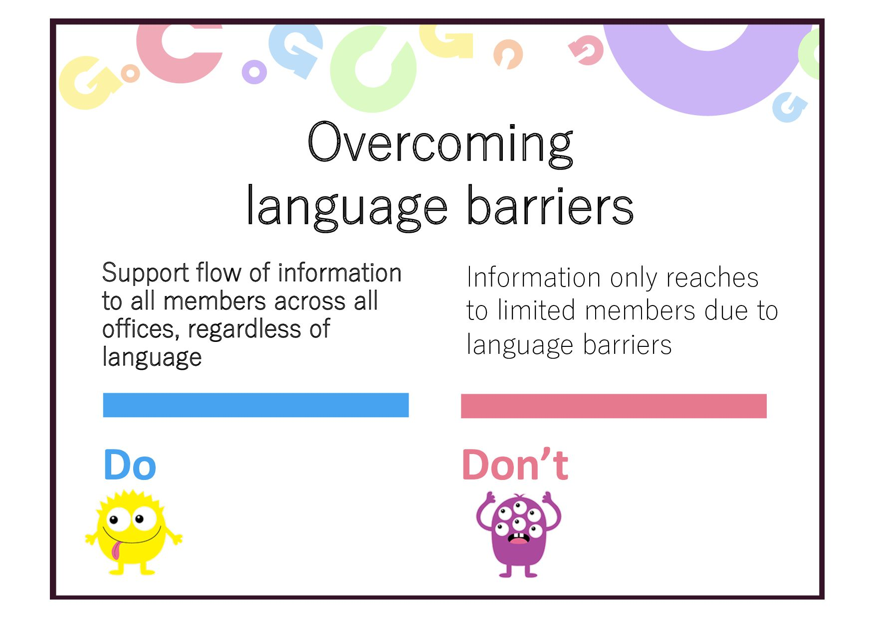 Overcoming language barriers Support flow of in...