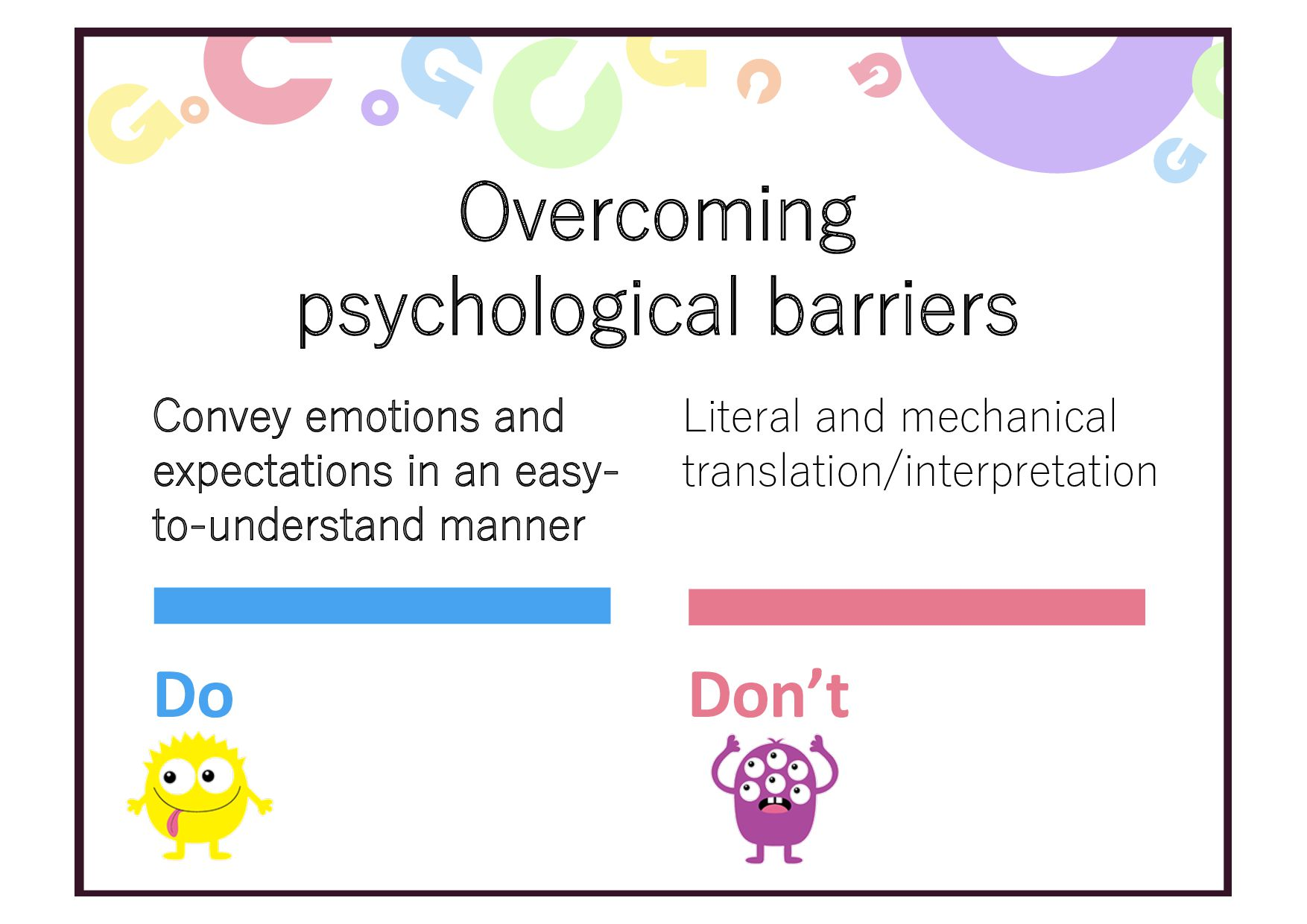 Overcoming psychological barriers Convey emotio...