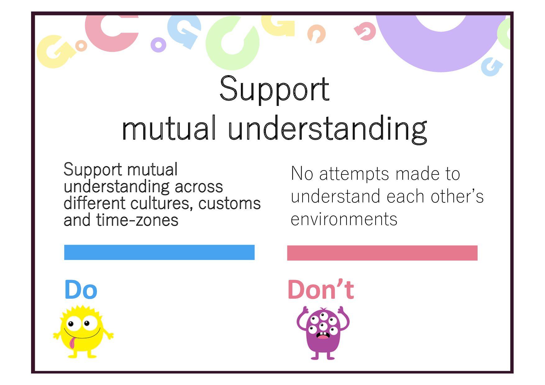 Support mutual understanding Support mutual und...