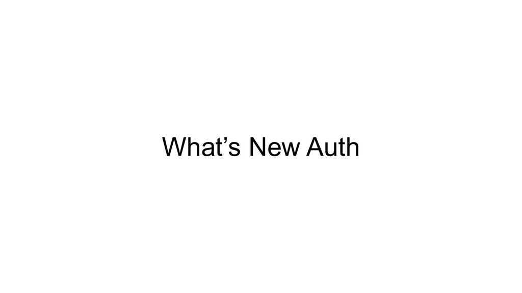 What's New Auth