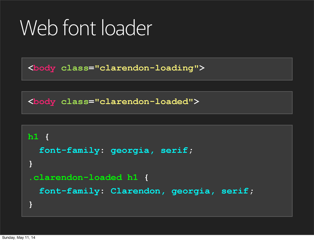 "Web font loader <body class=""clarendon-loading""..."