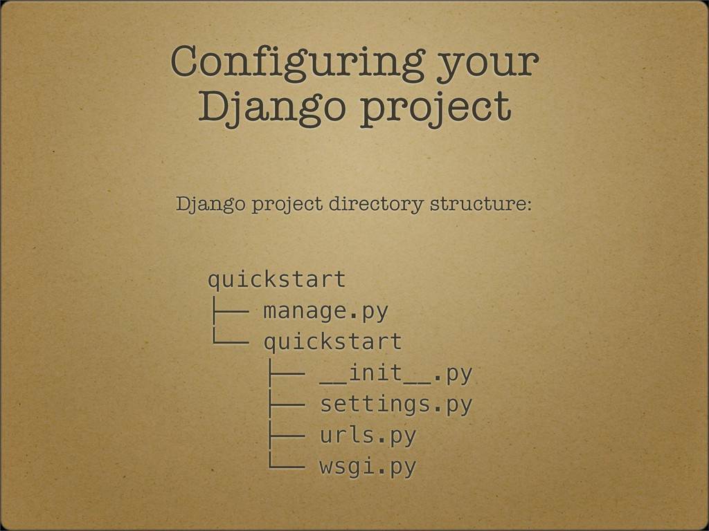 Django project directory structure: quickstart ...