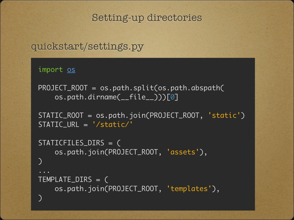 Setting-up directories quickstart/settings.py i...