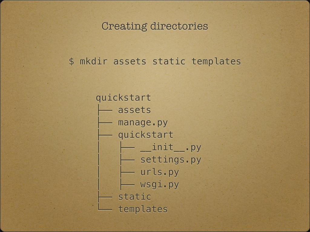 Creating directories quickstart ├── assets ├── ...