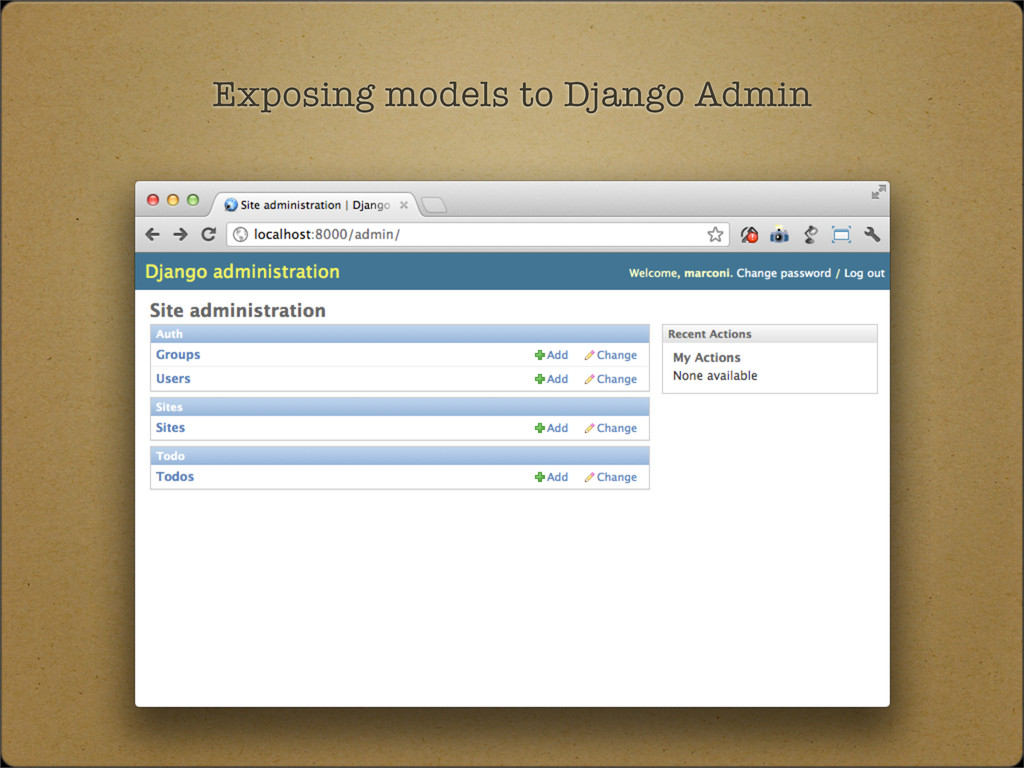 Exposing models to Django Admin