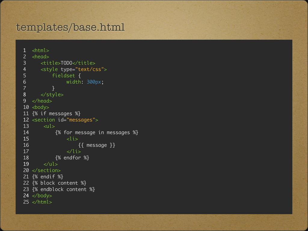templates/base.html 1 <html> 2 <head> 3 <title>...
