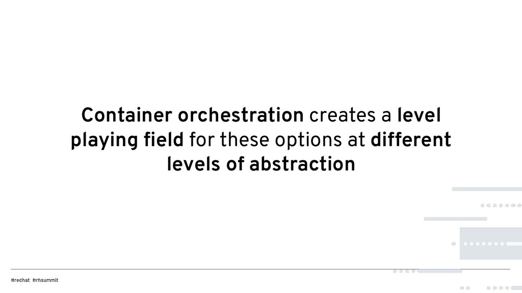 Container orchestration creates a level playing...