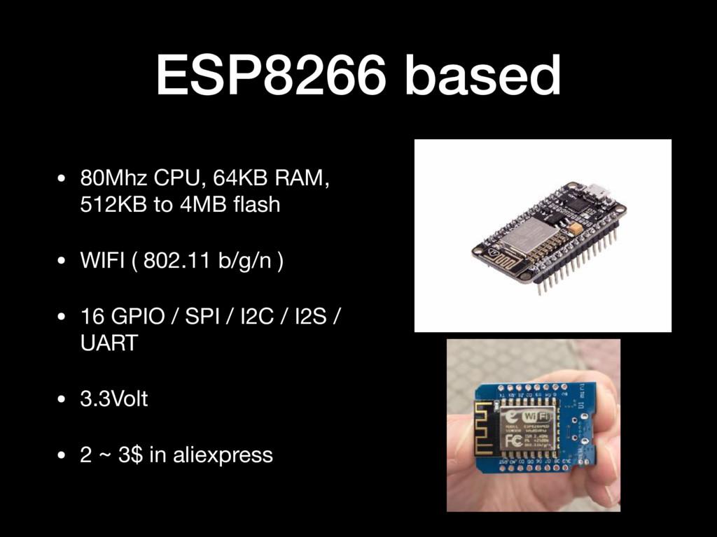 ESP8266 based • 80Mhz CPU, 64KB RAM, 512KB to 4...