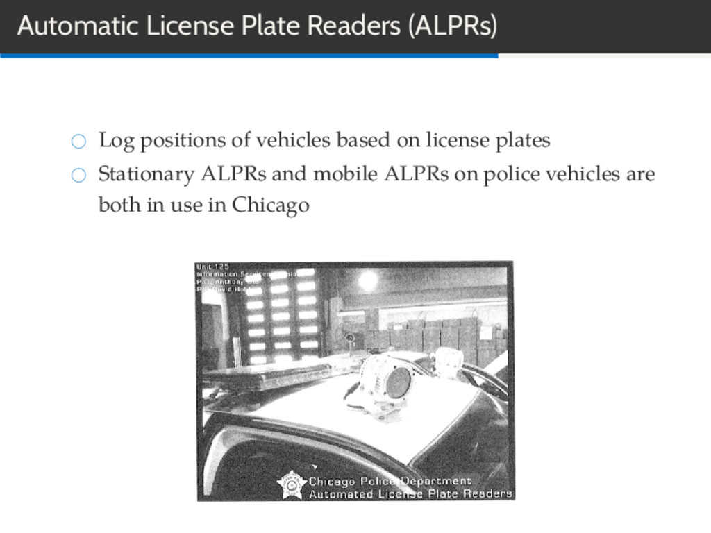 Automatic License Plate Readers (ALPRs) Log pos...
