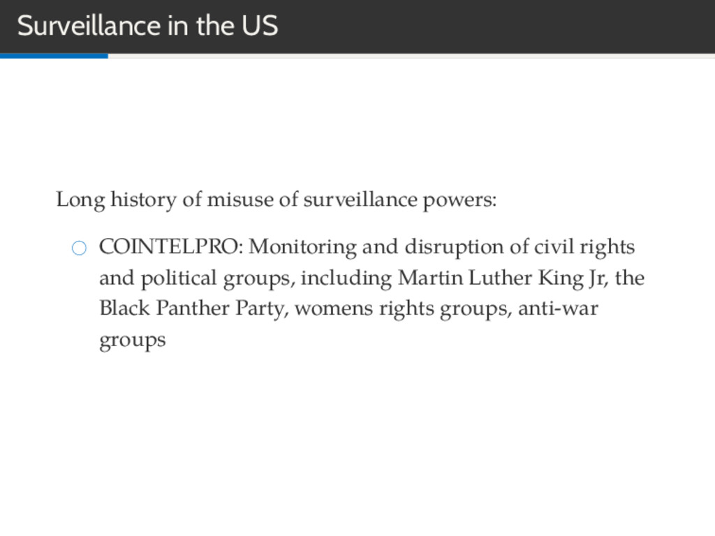 Surveillance in the US Long history of misuse o...