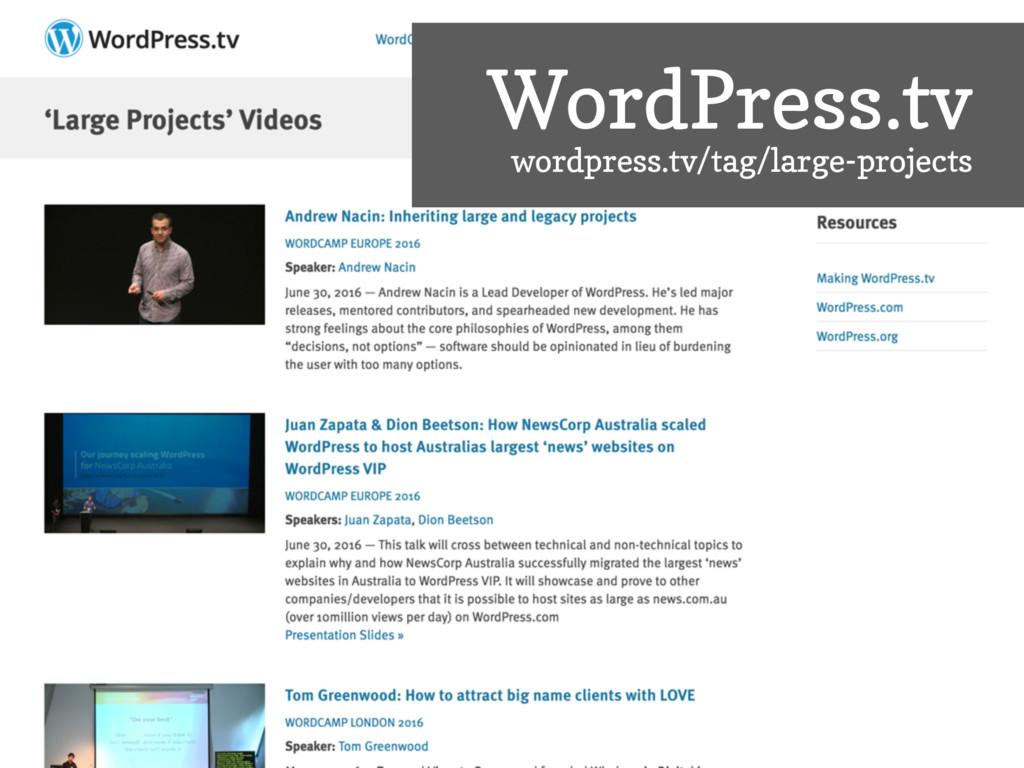 WordPress.tv wordpress.tv/tag/large-projects