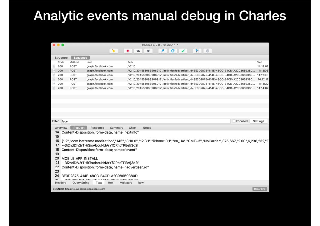 Analytic events manual debug in Charles