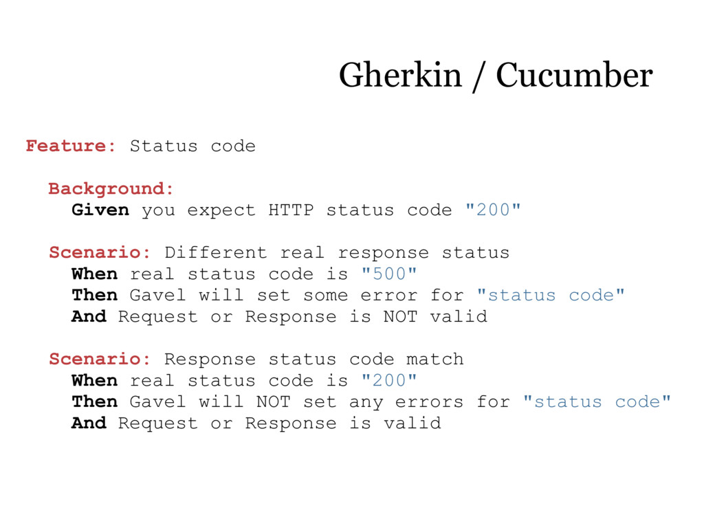 Feature: Status code Background: Given you expe...