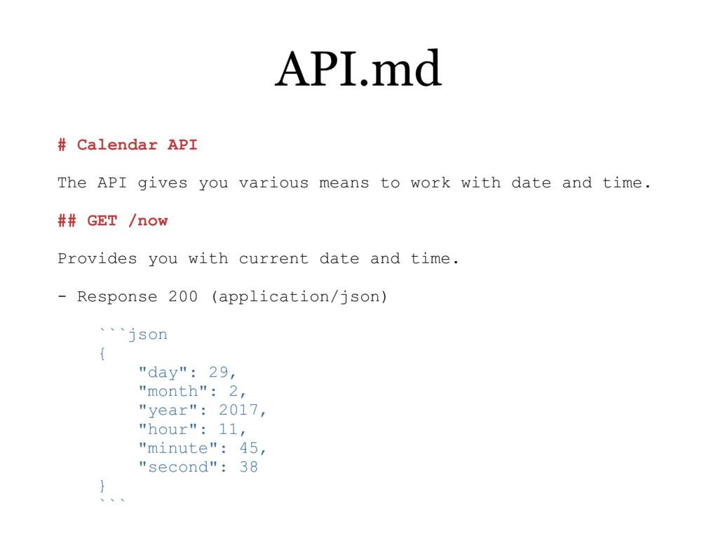 # Calendar API The API gives you various means ...