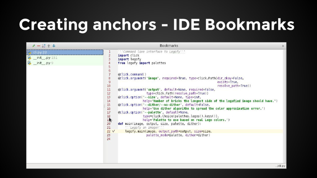 Creating anchors - IDE Bookmarks