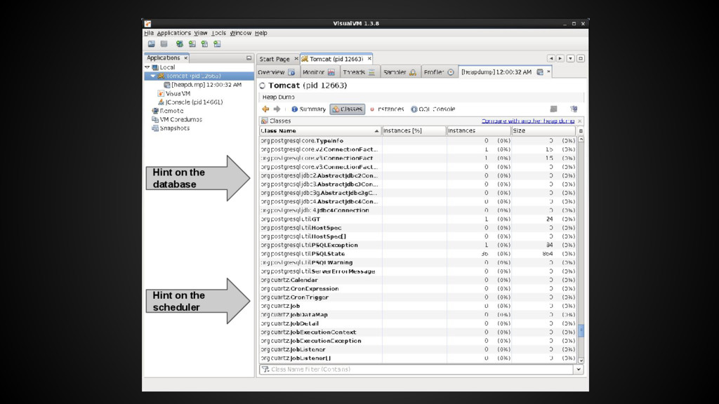 Hint on the database Hint on the scheduler