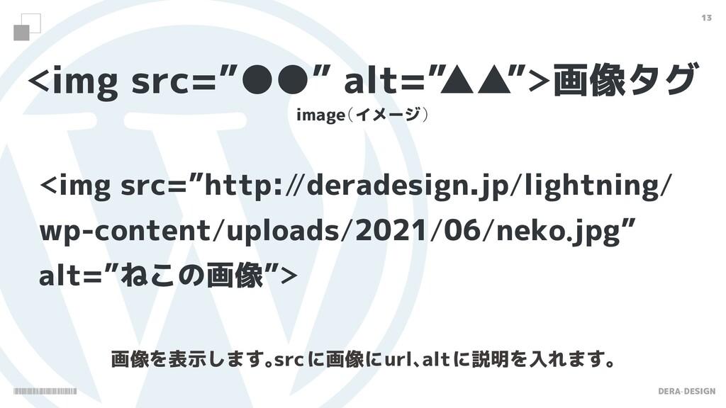 "DERA-DESIGN 13 img src=""●●"" alt="" ▲▲""画像タグ ima..."