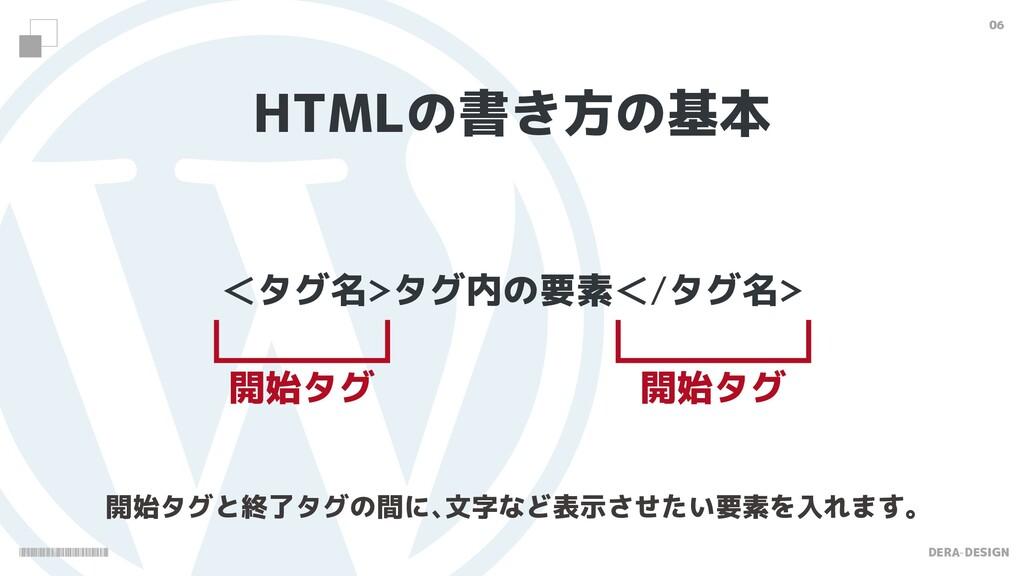 DERA-DESIGN 06 HTMLの書き方の基本 ʻタグ名タグ内の要素ʻ/タグ名 開始...