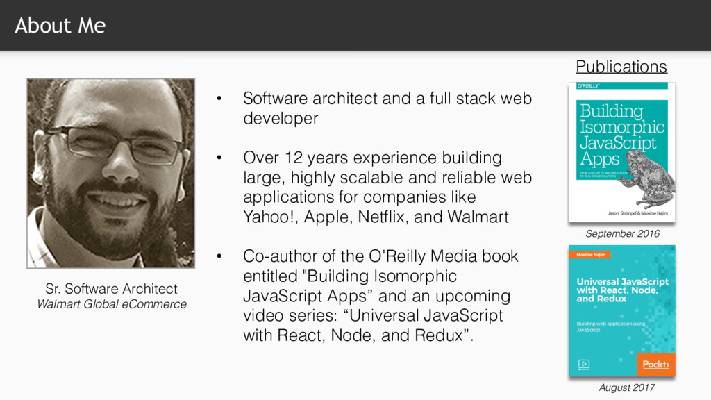 About Me • Software architect and a full stack ...