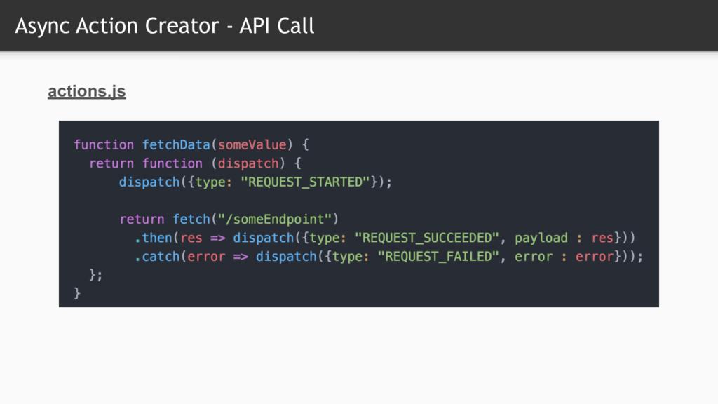 Async Action Creator - API Call actions.js