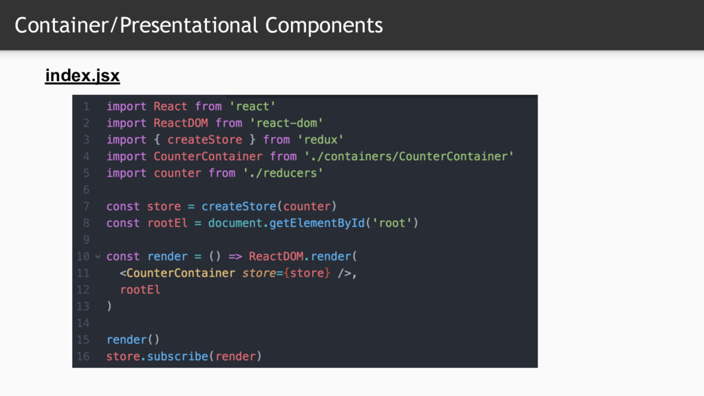 Container/Presentational Components index.jsx