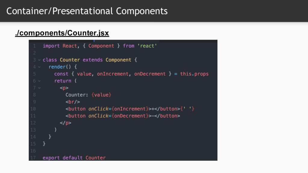 Container/Presentational Components ./component...