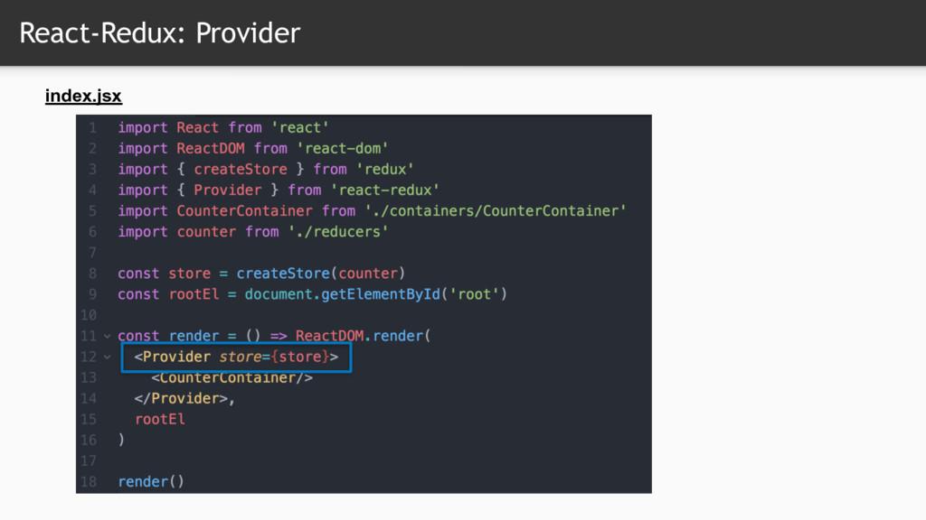 React-Redux: Provider index.jsx