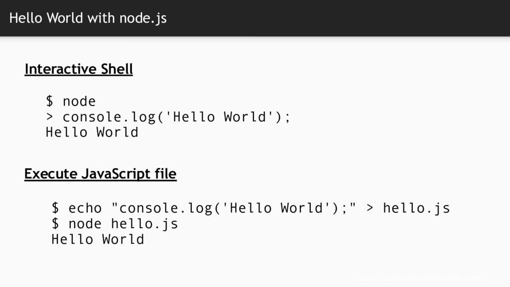 Hello World with node.js http://www.modulecount...
