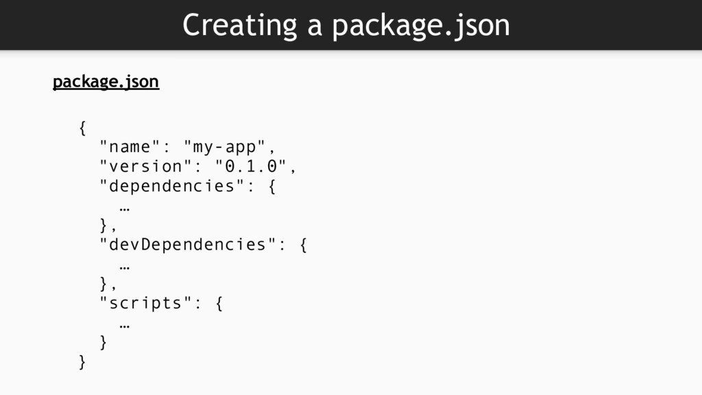 """Creating a package.json { """"name"""": """"my-app"""", """"ve..."""