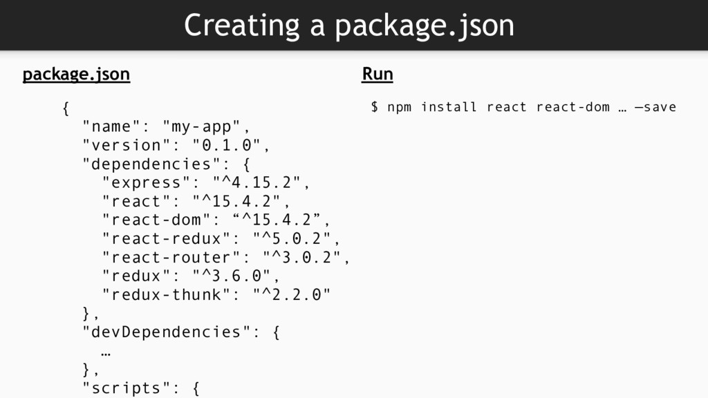 """Creating a package.json package.json { """"name"""": ..."""