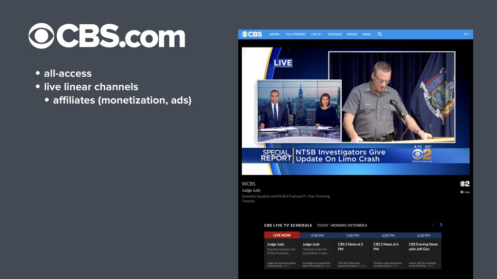 • all-access • live linear channels • affiliates ...